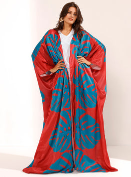 Vermillion Loose Kaftan With Blue Leaf Print - Store WF
