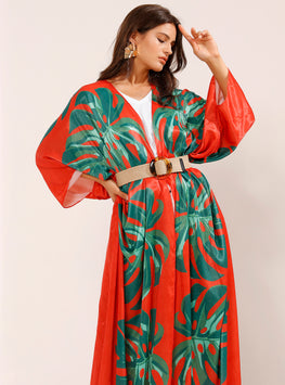 Tropical Green Print Orange Belted Kaftan - Store WF