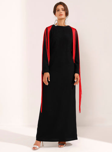 Elegant Black Maxi Dress With Red Tassel Shoulders - Store WF