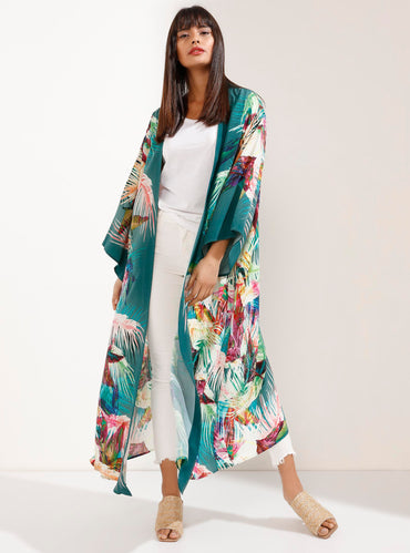 Natural fabric Vibrant Print Luxury Emerald Kimono - Store WF
