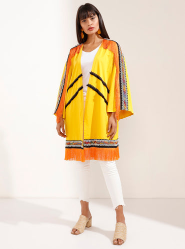 Orange Tasseled Fashionable Yellow Kimono - Store WF