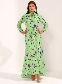 Fitted Lime Green Maxi-Dress Double Knotted Front Line