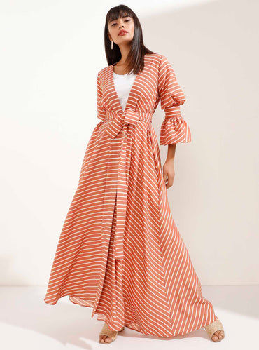 Brick Coloured Striped Kimono with Cuffed Sleeve Detail - Store WF