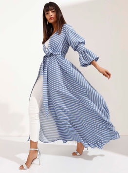 White Striped Blue Kimono with Cuffed Sleeve Detail - Store WF