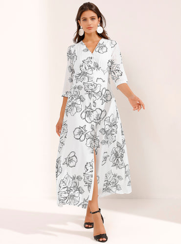 White Floral Print Cotton Maxi Dress - Store WF