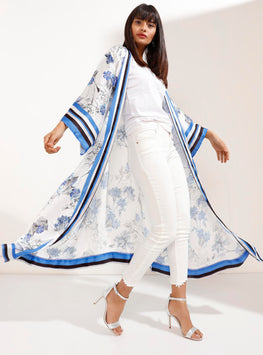 Blue and White Kimono with Stripes and Floral Pattern - Store WF