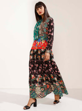 Colourful Multi-Patterned Long Sleeves Maxi Dress - Store WF