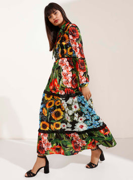 Multi-Colour Floral Pattern Maxi-Size Dress - Store WF