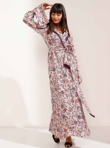 Pink Floral Maxi Dress with Tassel Collar and Belt - Store WF