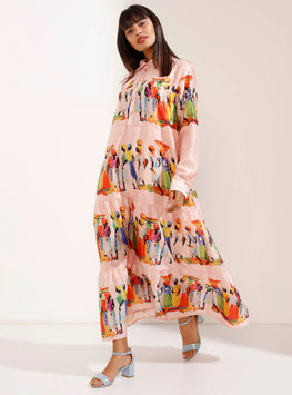 Traditional Print Buttoned Maxi Shirt-Dress – Light Pink - Store WF