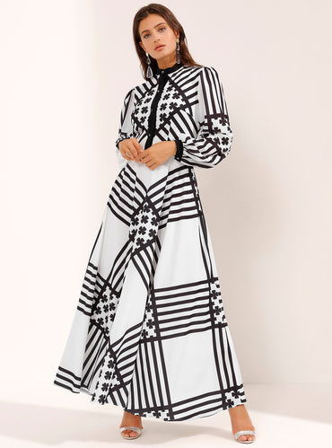 Cross Striped White Maxi Dress with Shine Black stone button - Store WF