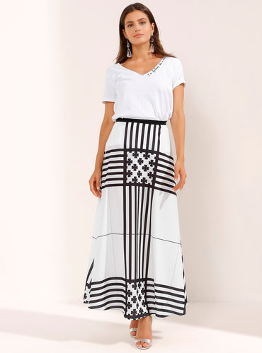 Cross Striped White Maxi Skirt - Store WF