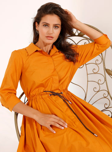 Apricot Maxi Dress With Slim Leather Belt - Store WF