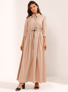 Beige Maxi Dress with Hidden Leather Belt - Store WF