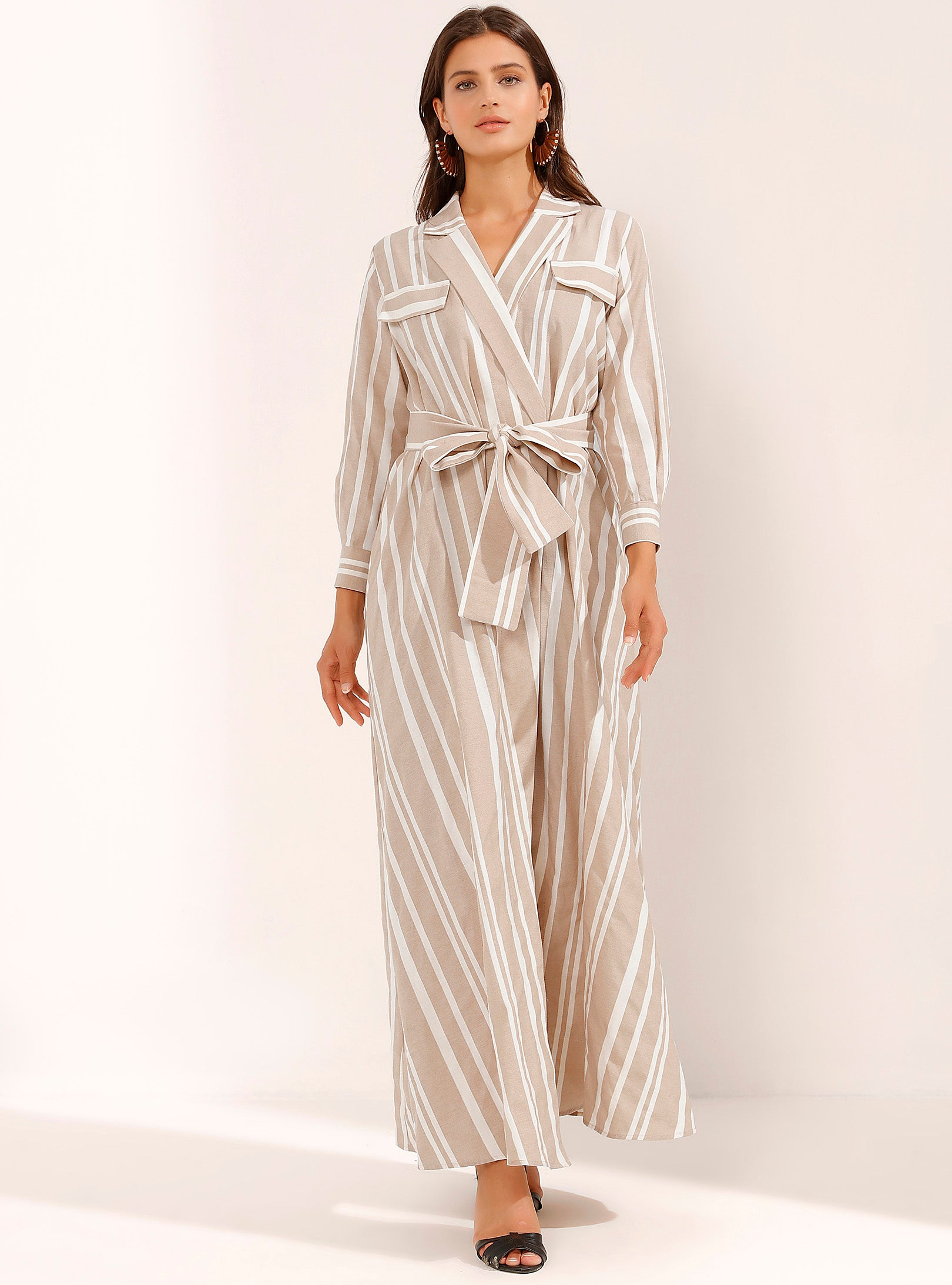 Cream & Beige Striped V-Neck Maxi Dress with Waistband - Store WF