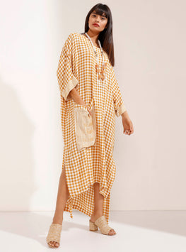Mustard Checked Linen Maxi Dress with Necklace - Store WF