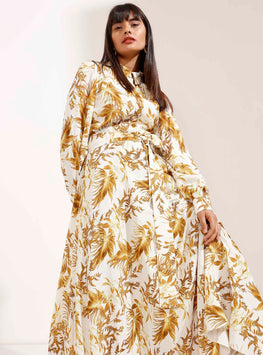 Belted Dress with Mustard Leaf Print - Store WF