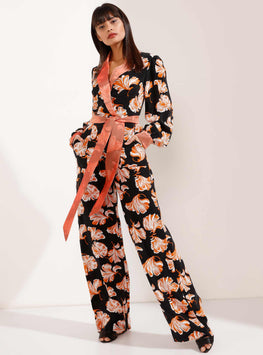 Black and Orange Belted Jumpsuit with Pockets - Store WF