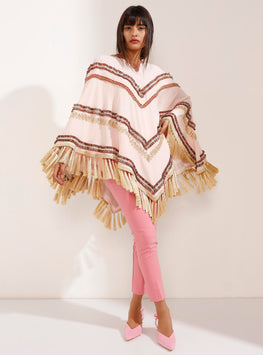 Limited edition Gold Tasseled Light Pink Poncho - Store WF