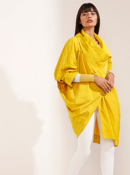 Yellow Knitted Sleeve Loose Coat - Store WF