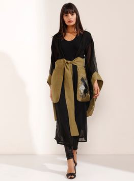 Black-Gold Multi Coloured Tulle Kimono - Store WF