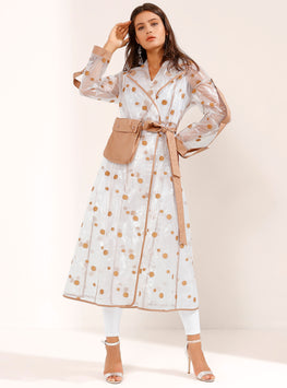 Brown Polka Dotted See Through Belted Robe Coat - Store WF