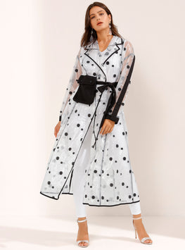Black Polka Dotted See Through Belted Robe Coat - Store WF