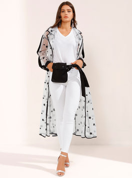 Black Polka Dotted See Through Belted Robe Coat