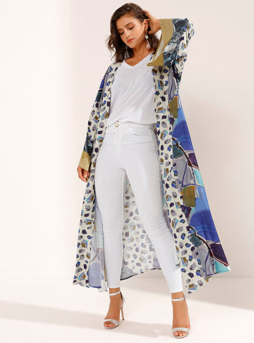 Jazzy Mix-Coloured Long Robe with Postmodern Print - Store WF
