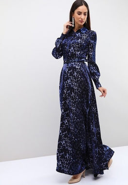 BLUE LEOPARD PRINT BELTED FLARED MAXI DRESS