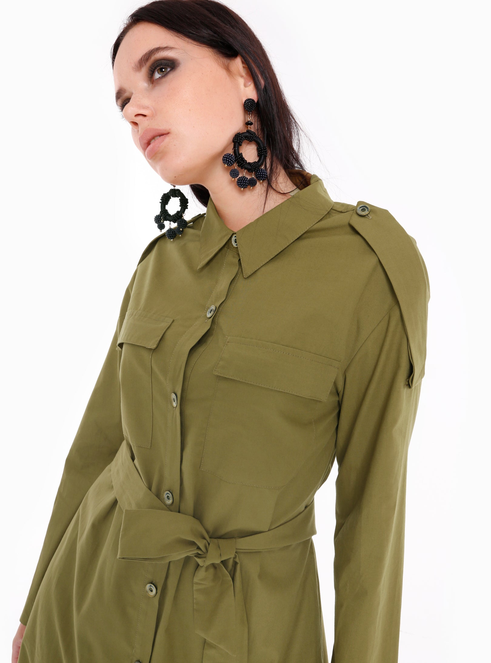 Buttons Down Chest Pockets Shirt Dress - Store WF