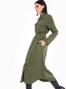 Dark Green Buttons Down Chest Pockets Shirt Dress