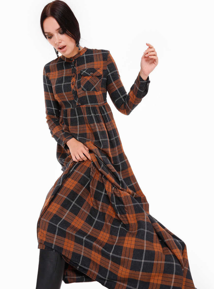 Checked Gather Flounced Hem Maxi Dress - Store WF