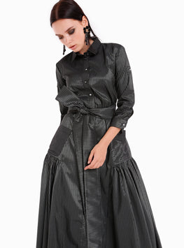 Button Down Front Pockets Belted Maxi Dress - Store WF