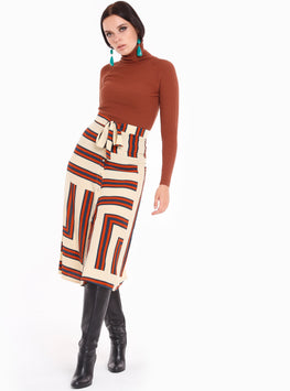 Asymmetric Stripe Buttons Sown Belted Maxi Skirt - Store WF