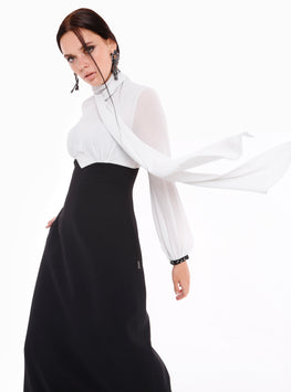 Black and White Tie Neck Maxi Dress - Store WF