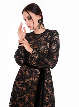 Premium Black Lace Maxi Dress - Store WF
