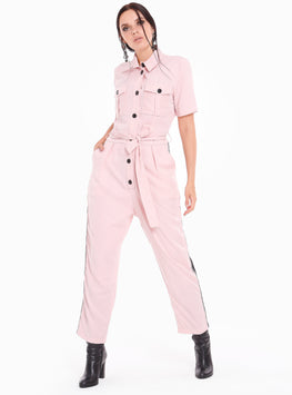 Button Down Candy Pink Jumpsuit - Store WF