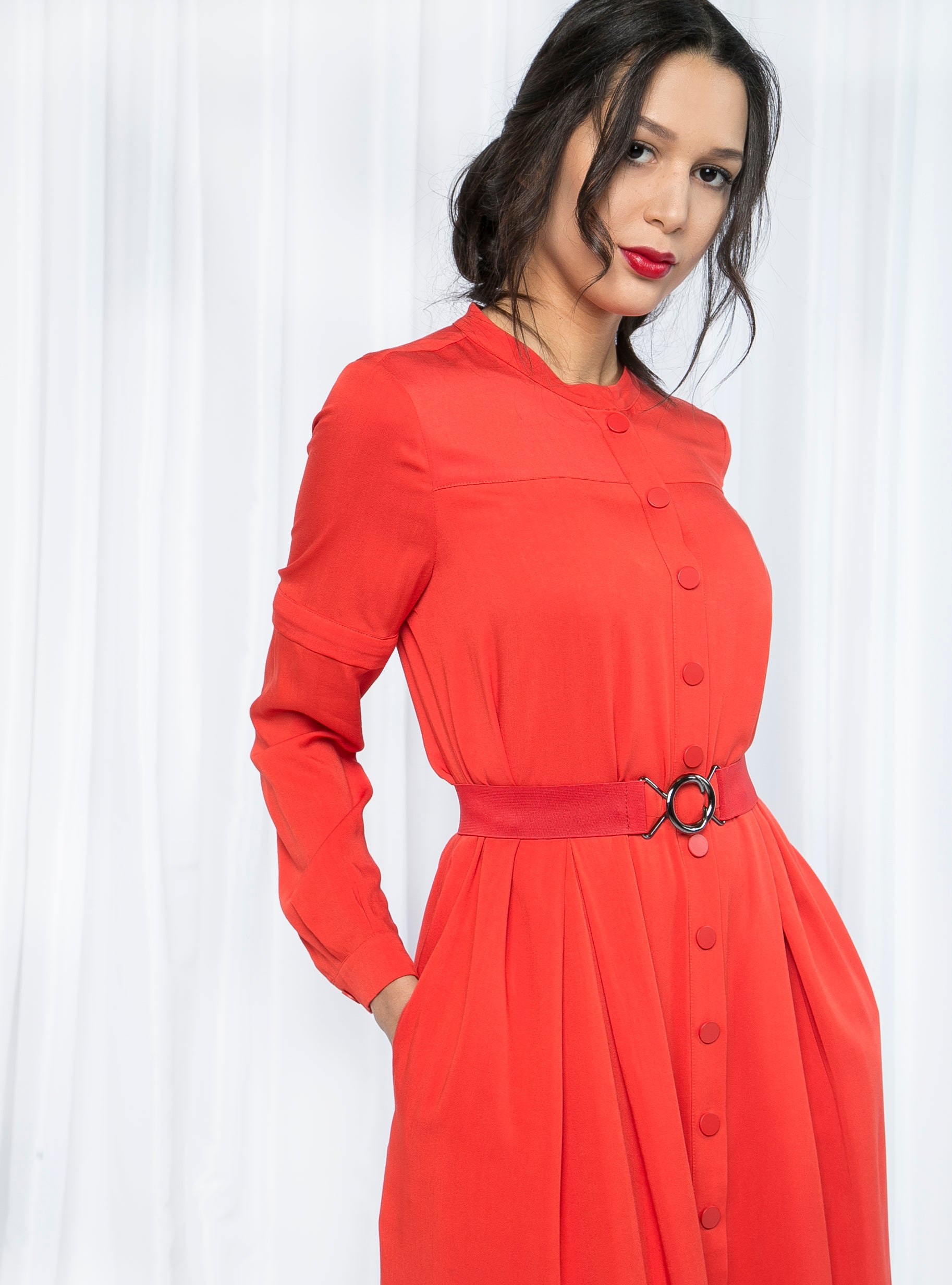 BELTED DRESS WITH DETACHABLE SLEEVES - Store WF