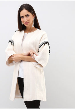 WIDE SLEEVE TASSEL DETAIL COTTON JACKET