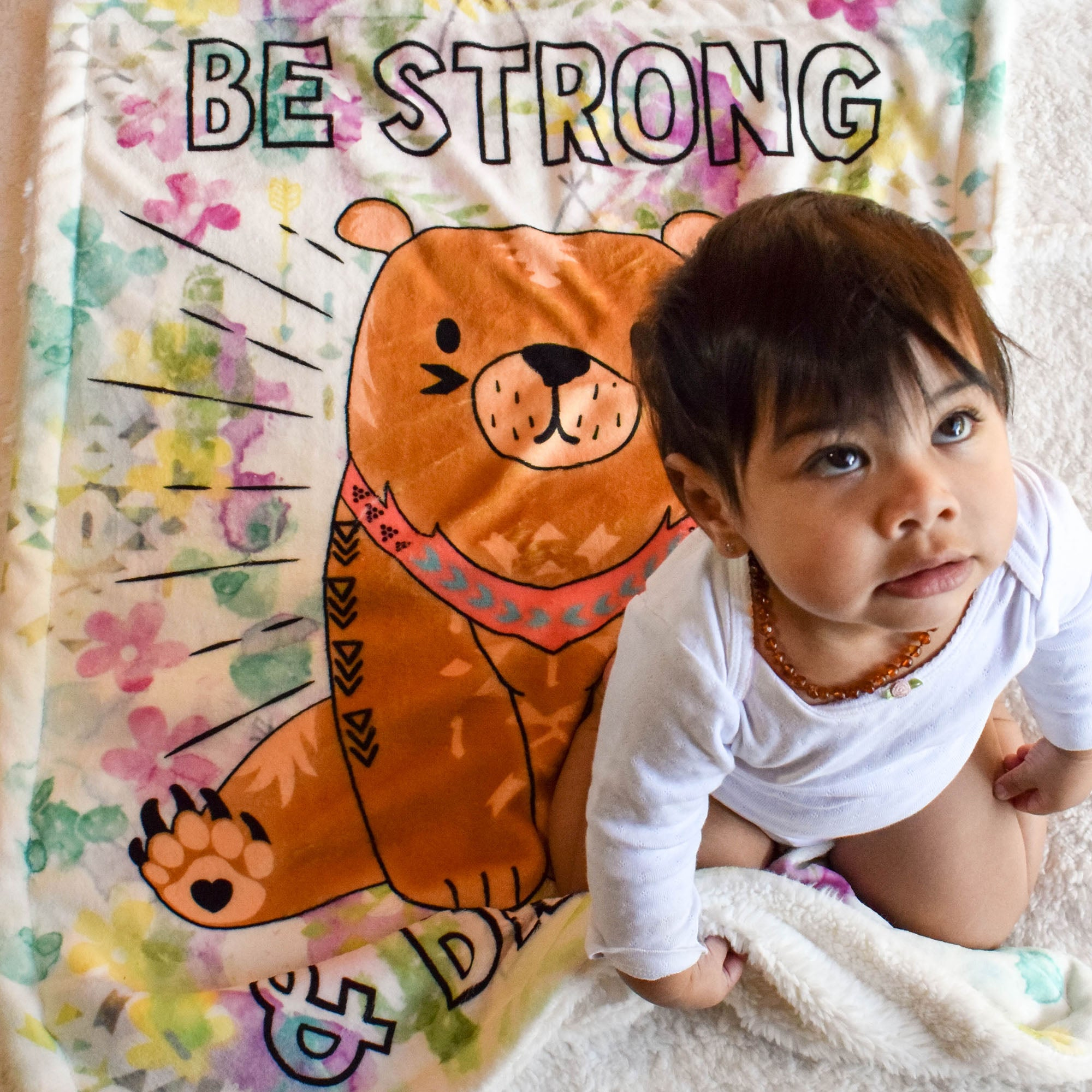 Baby Looking Up on Be Strong Baby Plush Blanket