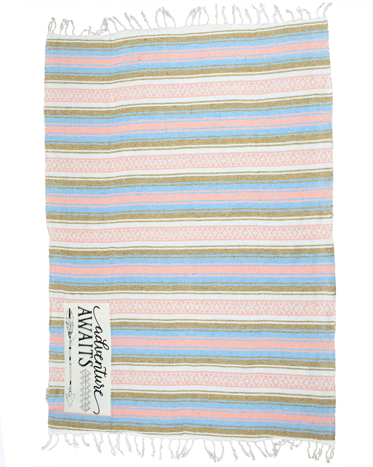 "Textured Family Blanket Single Layer ""Adventure"" - Coral/Blue"