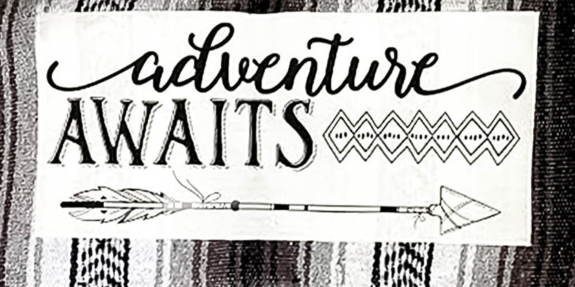 Adventure Awaits Patch stitched on mexican blanket