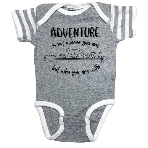 Grey Heather and White Stripe Adventure Onesies with Woodland Animals