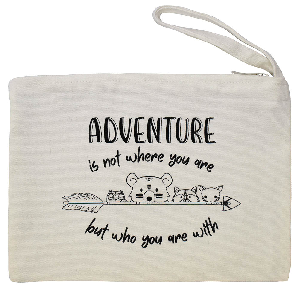 Natural Zipper Pouch with Adventure is Not Where You are But Who You Are With Graphic