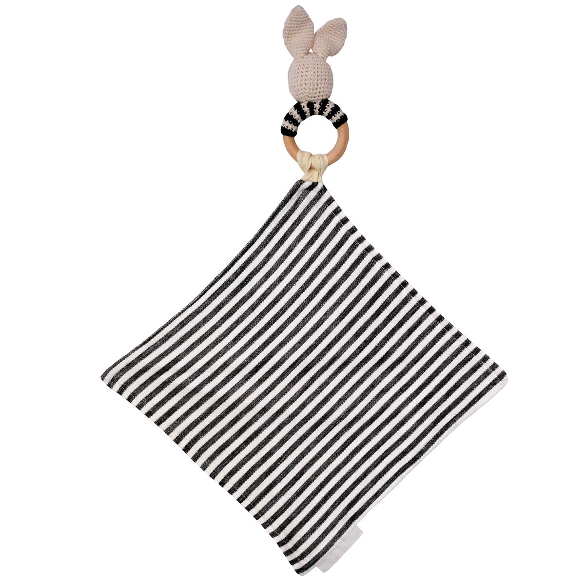Back of Bunny Rattle with Black and Off White Stripe Mini Blanket