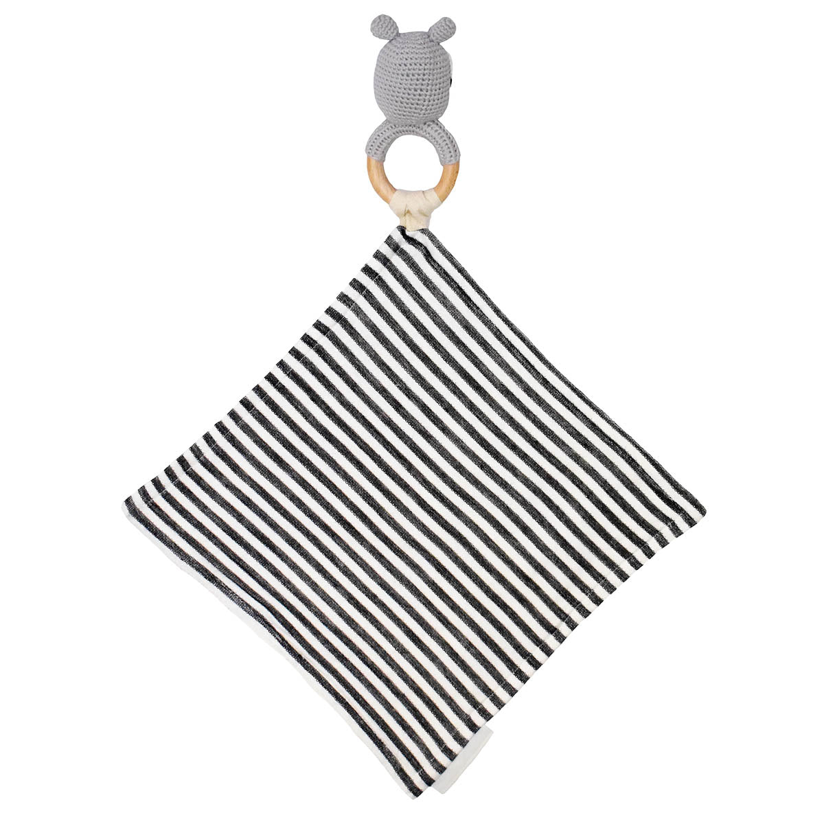Back of Raccoon Teether Rattle with Black and Off White Stripe Mini Blanket