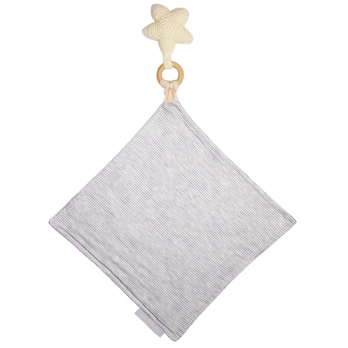 Back of Star Crochet Teether with Heather Grey Stripe on Mini Blanket
