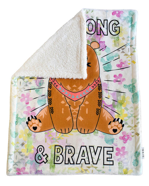 Back View of Be Strong Baby Plush Blanket