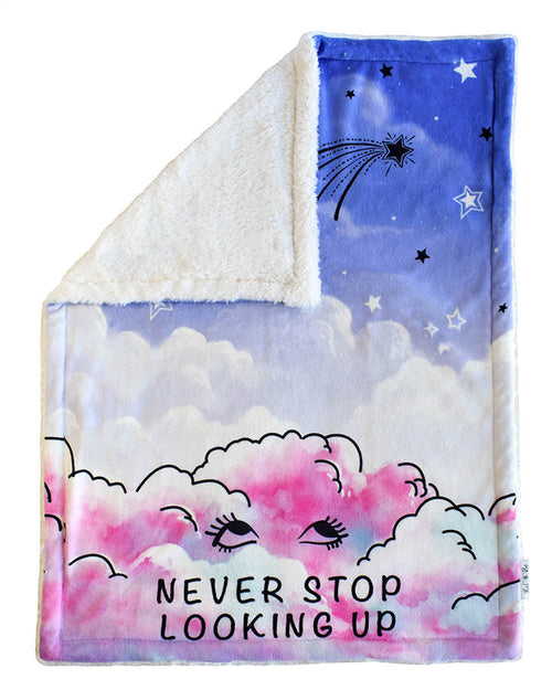 Never Stop Looking Up Plush Baby Blanket Back View With Sherpa